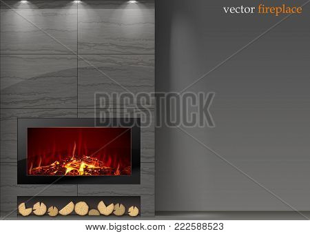 Modern vector a fireplace in the interior room. The fire in the furnace. Heating system
