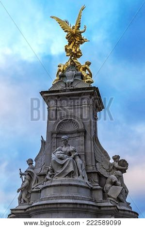 LONDON, UK - NOVEMBER 29, 2017: Detail of Nike,Goddess of Victory.Statue on the Victoria Monument Memorial outside Buckingham Palace.The monument was unveiled in 1911 with fountain and bronze figures.
