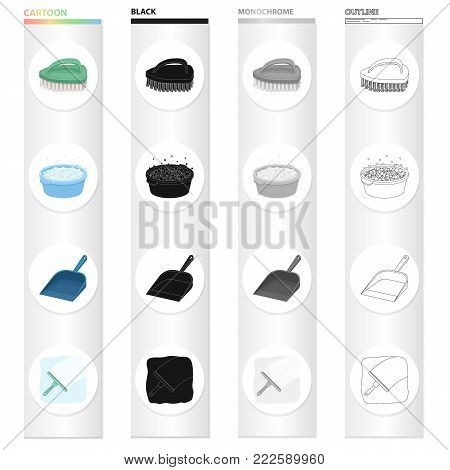 Brush for cleaning, a bowl with detergent, a dustpan, a brush for washing the glass. Cleaning set collection icons in cartoon black monochrome outline style vector symbol stock illustration .