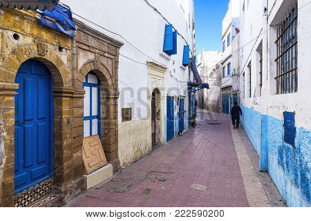 Essaouira, Morocco - December 24, 2017: View of the Medina of Essaouira, an example of a late 18th-century fortified town, as transferred to North Africa by European colonists