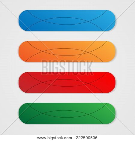 Long color buttons. Color buttons with stripes. Vector stylized buttons with thin lines.