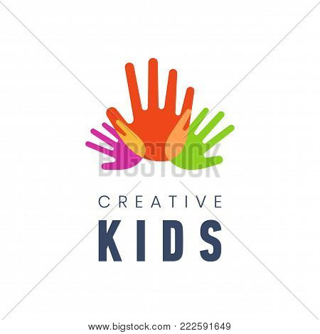 Kids Creative Template Logo Vector Illustration Colorful Hand Palms On White Background. Children Science And Education Class Promo Sign