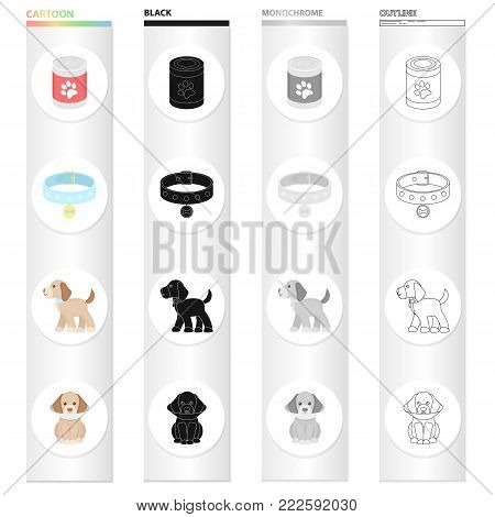 Bank with food, a collar with a medal, a puppy is sitting, it costs.Puppy set collection icons in cartoon black monochrome outline style vector symbol stock illustration .