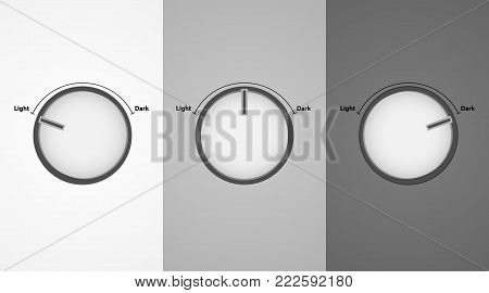 Round buttons switches. Switches of brightness of light. Vector buttons.
