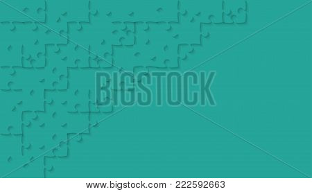 Teal Puzzle Pieces Arranged in a Rectangle - JigSaw - Vector Illustration. Jigsaw Puzzle. Abstract Vector Background.