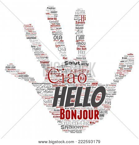 Concept or conceptual hand print stamp hello or greeting international tourism word cloud in different languages or multilingual. Collage of world, foreign, worldwide travel translate, vacation