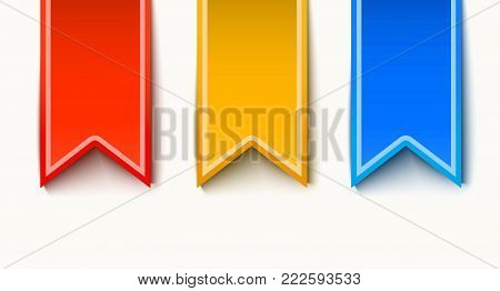 Vector blank label with shadows set. Paper tag, stickers illustrations isolated for banner, poster, advertising template design. Tag, badge flag ribbon icon
