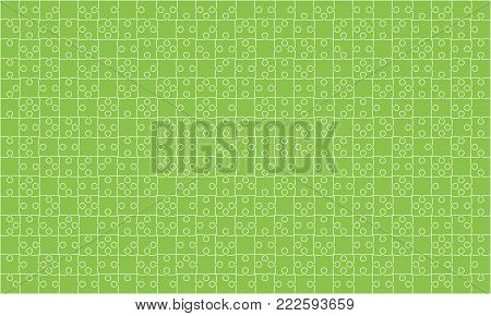375 Green Material Design Puzzles Pieces - Vector Illustration. Jigsaw Puzzle Blank Template or Cutting Guidelines. Vector Background.