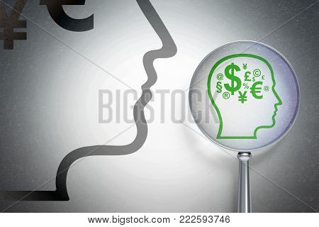 Marketing concept: magnifying optical glass with Head With Finance Symbol icon on digital background, empty copyspace for card, text, advertising, 3D rendering