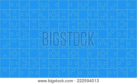 112 Blue Puzzles Pieces Arranged in a Square - Vector Illustration. Jigsaw Puzzle Blank Template or Cutting Guidelines. Vector Background.