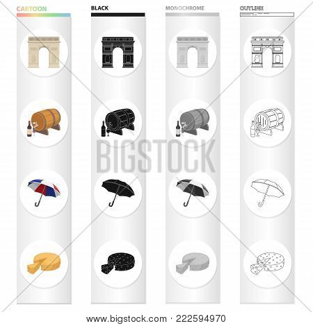 Triumphal arch, wine barrel, umbrella national tricolor, famous French cheese. France set collection icons in cartoon black monochrome outline style vector symbol stock illustration .