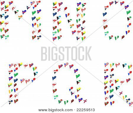 Alphabet letters abc font made of flags in heart