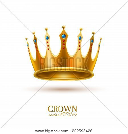 Golden crown realistic vector luxury VIP jewelry ruby, sapphire gemstone 3d royal queen monarch king emperor symbol. Isolated illustration white background. Success, authority leadership emblem