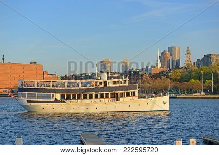 BOSTON - APR. 30, 2016: Boston Harbor Cruise Valiant cruises in Boston Harbor in Boston, Massachusetts, USA.