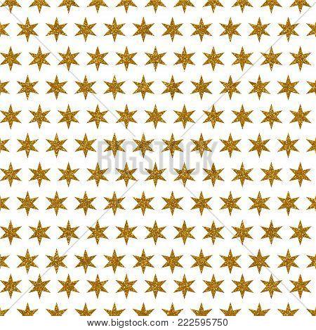 A digitally created metallic gold glitter starry background design.