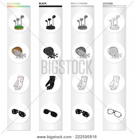 Golf clubs, balls in the basket, golfer glove, sunglasses. Golf set collection icons in cartoon black monochrome outline style vector symbol stock illustration .