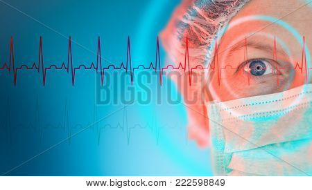 Female cardiologist, cardiology specialist with protective mask close up portrait in medical hospital clinic