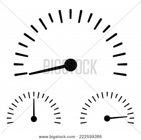 Speedometer in different positions flat icon  - Stock Vector.