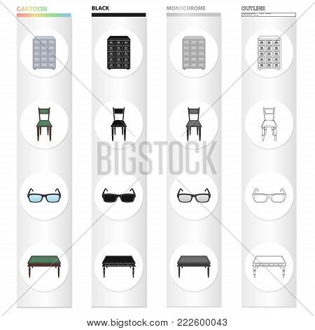 Furniture in the library, filing cabinet, chair, table, glasses for sight. Library set collection icons in cartoon black monochrome outline style vector symbol stock illustration .
