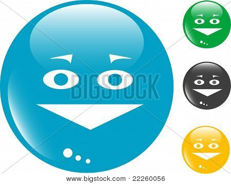 Smile set of colored button glass icon