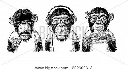 Three wise monkeys in headphones, virtual reality headset, and burger. Not see, not hear, not speak. Vintage black engraving illustration for poster. Isolated on white background