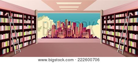 vector illustration of bookshelf on the wall in the great hall in the library of the panoramic window at the city skyline