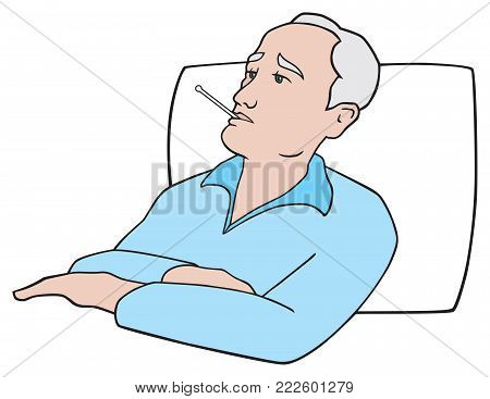 An elderly patient with a thermometer is in bed recuperating