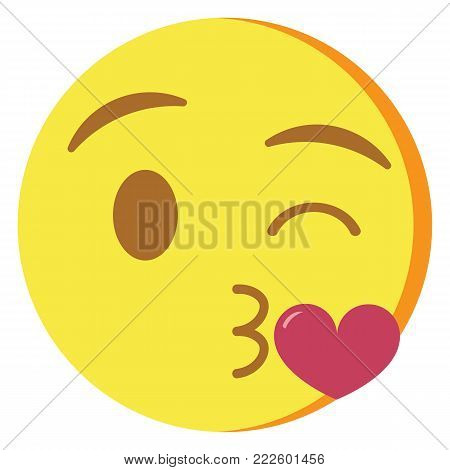 cute kawaii emoji blowing a kiss colorful isolated