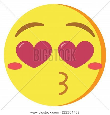 Vector cute kawaii emoji kissing colorful isolated