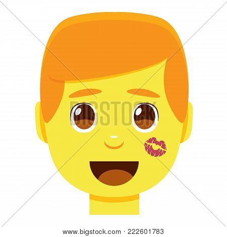 Vector cute kawaii man emoji colorful isolated