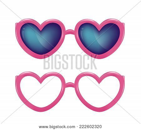 Vector realistic eyeglasses pink heart shape for photobooth, photo props design. 3d illustration for holiday party celebration evening, scrapbooking, selfie apps. Isolated white background