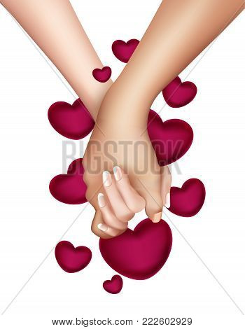 Realistic holding hands on heart background isolated. Friendship, couple, love between man, woman. Man holding girl hand. Valentines day holiday, symbol of togetherness. Vector illustration