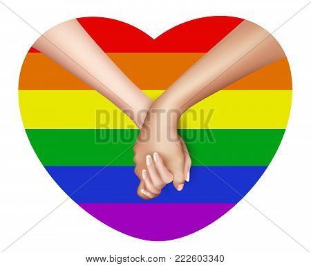 Realistic holding hands in lgbt rainbow flag colored heart frame isolated. Lesbian, gay couple love, homosexual pride movement. Valentines day holiday, symbol of togetherness. Vector illustration