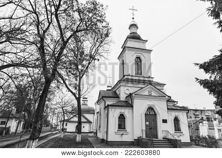 Ancient Spasskaya Church is  active temple Ukrainian Orthodox Church,  monument of architecture of national importance. General view.  Poltava city , Ukraine. Tourist attraction. Black and white photo.