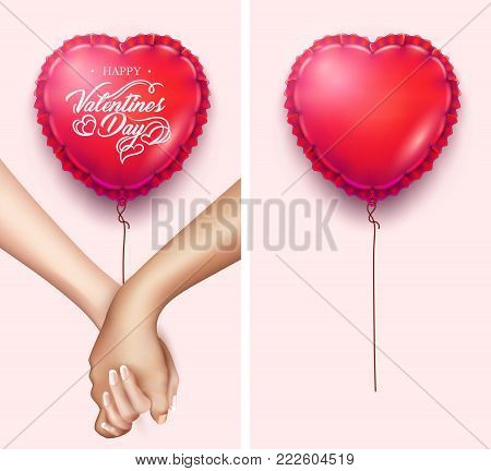 Realistic holding hands, heart shape air balloon. Friendship, couple, love between man, woman. Man holding girl hand. Happy Valentines day holiday, symbol of togetherness. Vector illustration