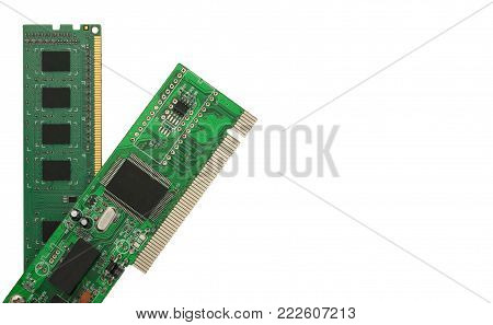 Ethernet NIC and RAM isolated on the white background
