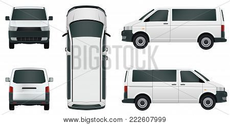 White passenger minivan on a white background - stock vector.