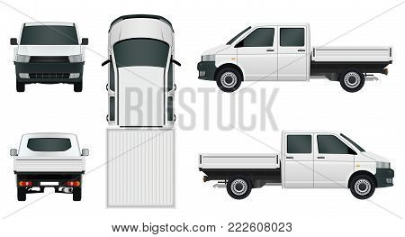 White van truck on white background - stock vector.