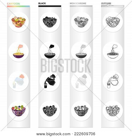 A bowl with various kinds of nuts, food fruit salad. pasta, jug and a glass of milk. Fruit and dessert set collection icons in cartoon black monochrome outline style vector symbol stock illustration isometric .