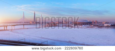 Panorama cable-stayed bridge is the western high-speed diameter, football stadium and the tallest skyscraper in Europe -at sunset in winter in Saint-Petersburg