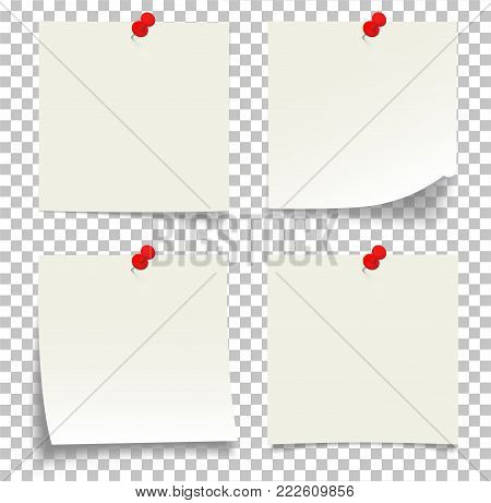 Collection of white note papers with bent corner, with the red button, ready for your message - Stock Vector.
