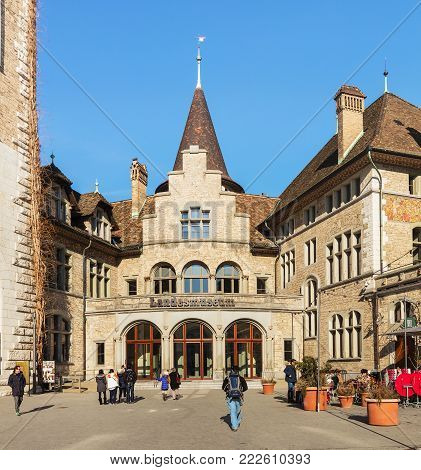 Zurich, Switzerland - 29 January, 2017: entrance to the Swiss National Museum. The Swiss National Museum (German: Landesmuseum) is one of the most important art museums of cultural history in Europe.