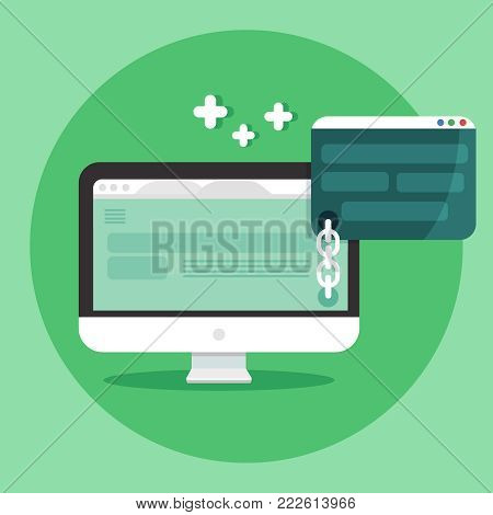 Link building concept. SEO marketing, and digital marketing vector banner. Website templates, email, and video isolated on the green background. Vector illustration