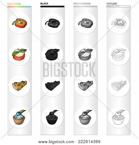 Stuffed peppers, a vegetarian sandwich with cheese, a vegetable pie, a cottage cheese with berries. Vegetarian dishes set collection icons in cartoon black monochrome outline style vector symbol stock isometric illustration .