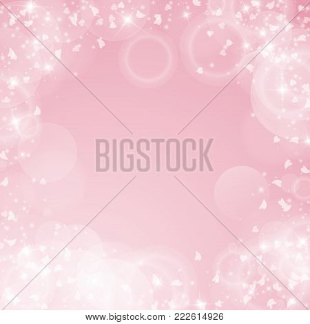 Falling Hearts Valentine Background. Messy Border On Pink Background. Falling Hearts Valentines Day