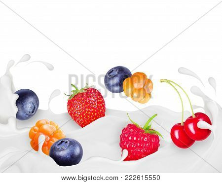 Different berries drown in splashes of cream