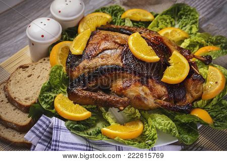 baked duck in oranges with apples,baked duck Christmas,stuffed duck,duck in oranges