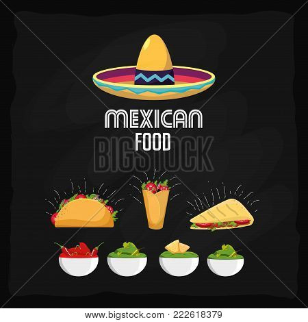 Burrito quesadilla and tacos of mexican food snack and menu theme Vector illustration