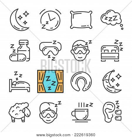 Vector black line Sleep icons set. Includes such Icons as Moon, Pillow, Sheep. Pictogram