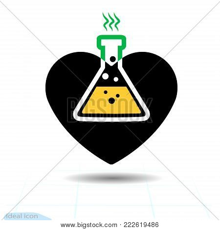Heart icon. A symbol of love. Valentine s day with the sign of the chemical hazard. Flat style for graphic and web design, logo. Vector. Adrenaline addiction. Corrosive chemicals danger warning sign